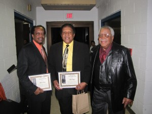 The Share the Dream Legend Award-Gerald Hunter, Dick Knight, Sam Lathan all played for the Godfather of Soul James Brown. Source: Louis Thomas III.