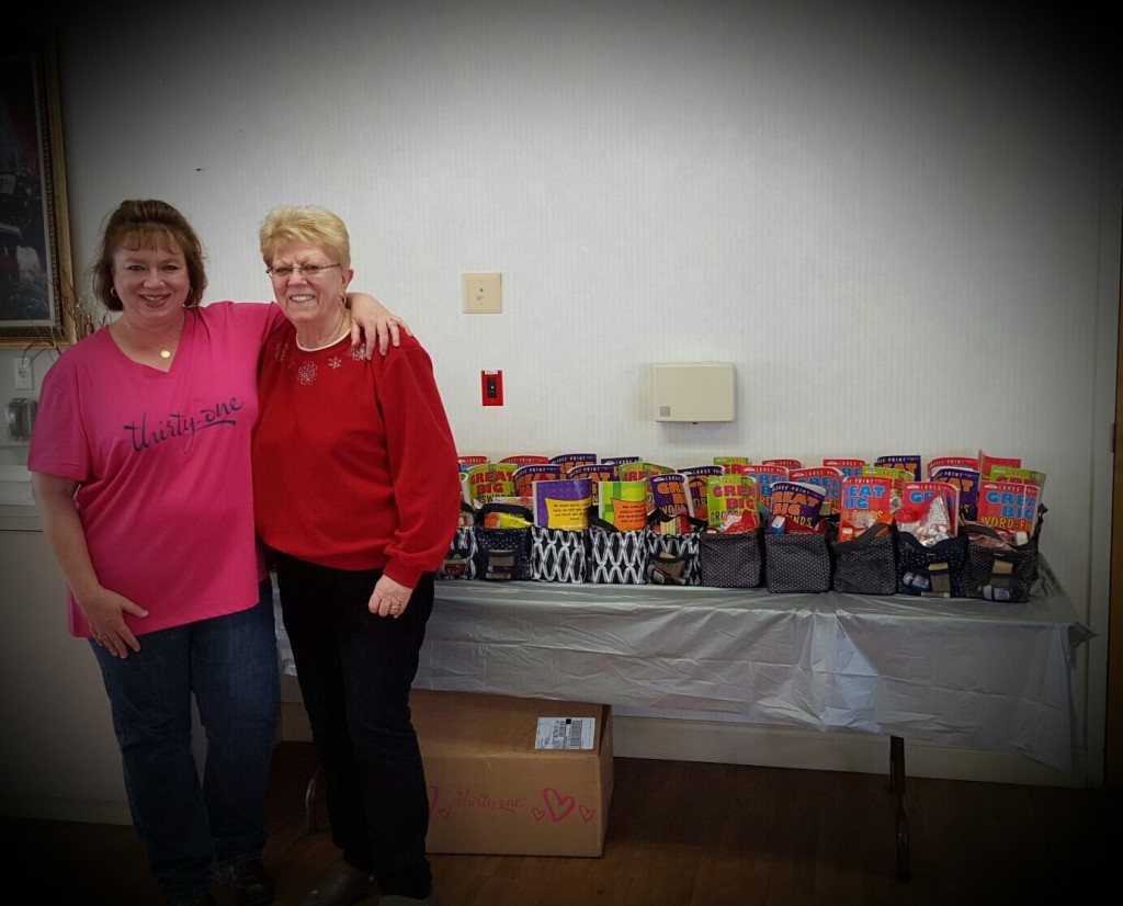 Susan Aceti and Pat Kendrick with the love totes, before residents arrived. Photo: John Aceti.