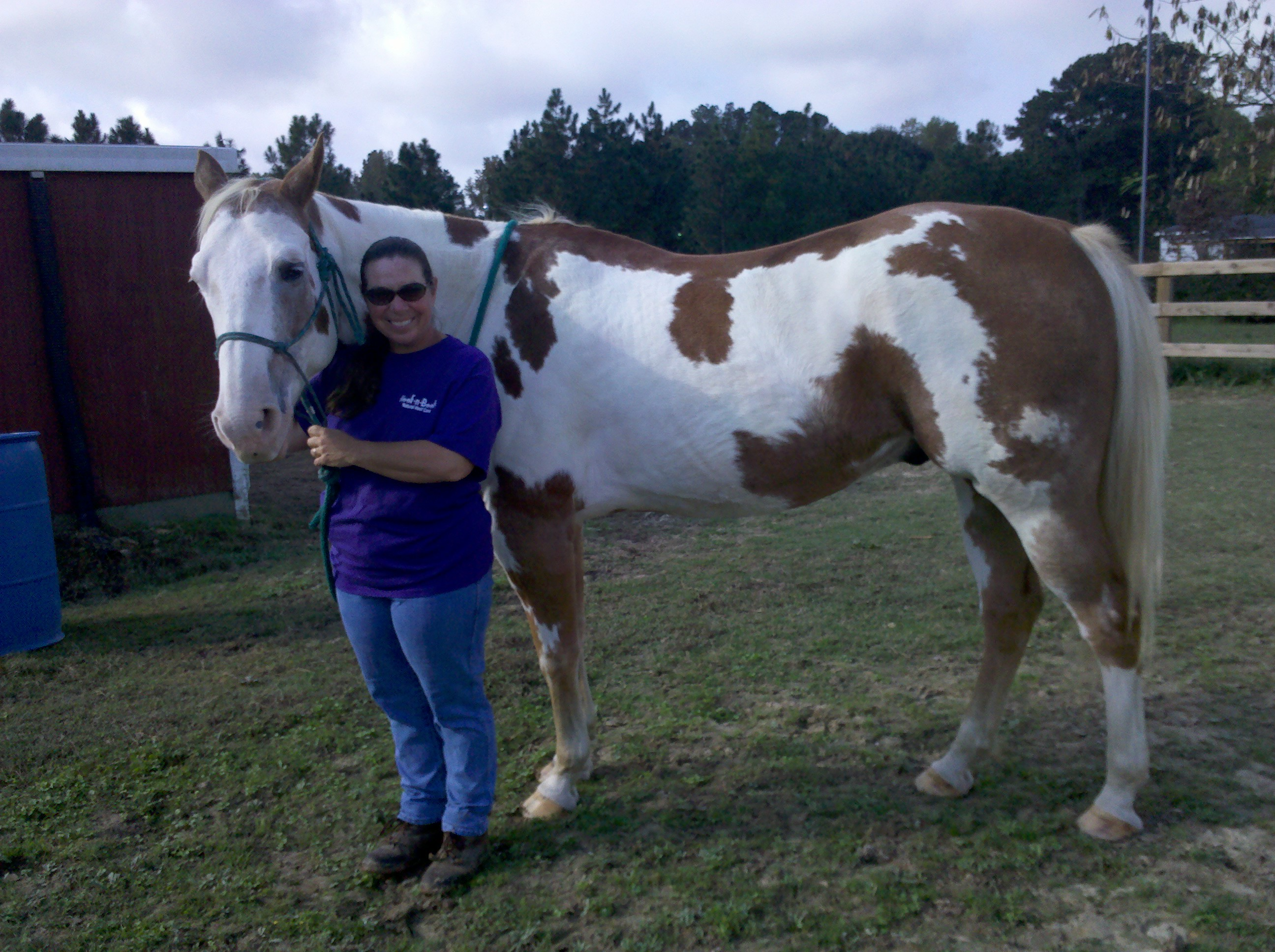 "Photo: Kim and ""Monty"" the therapy horse. Photo by Kay Whatley."