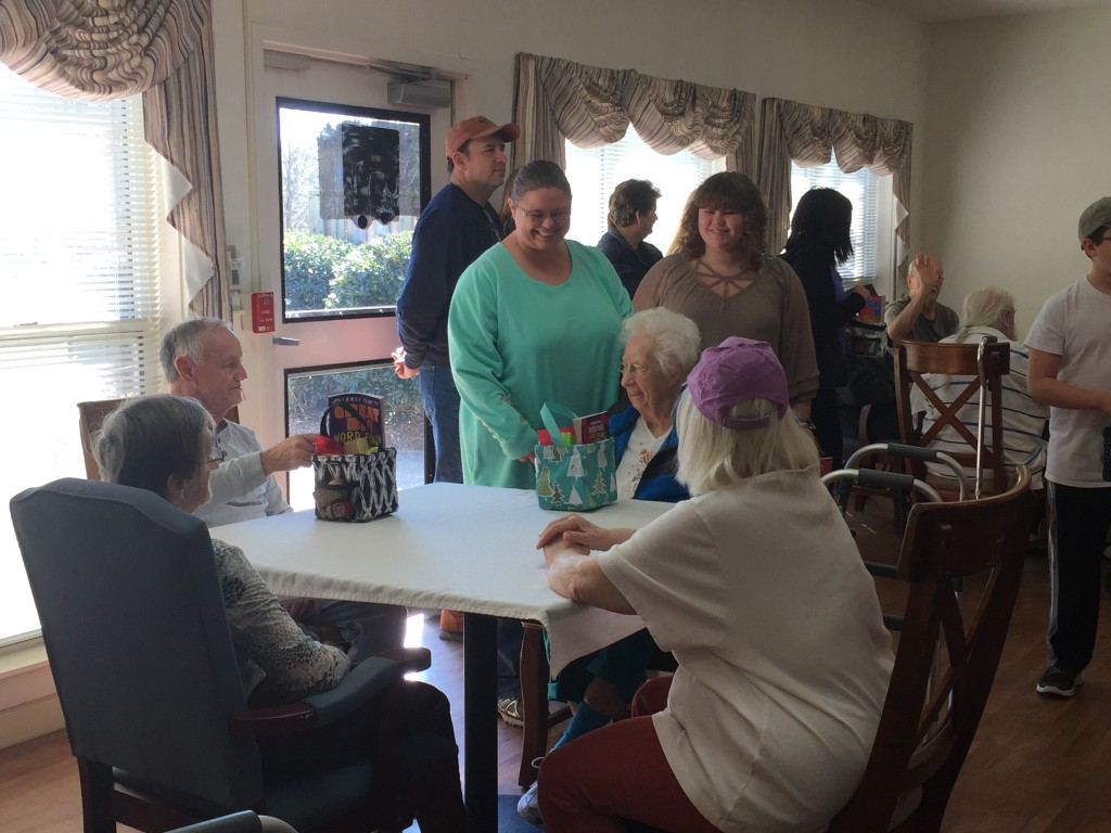 Volunteers chatting with residents at the Zebulon House Valentine event. Photo: Kay Whatley, greyareanews.com