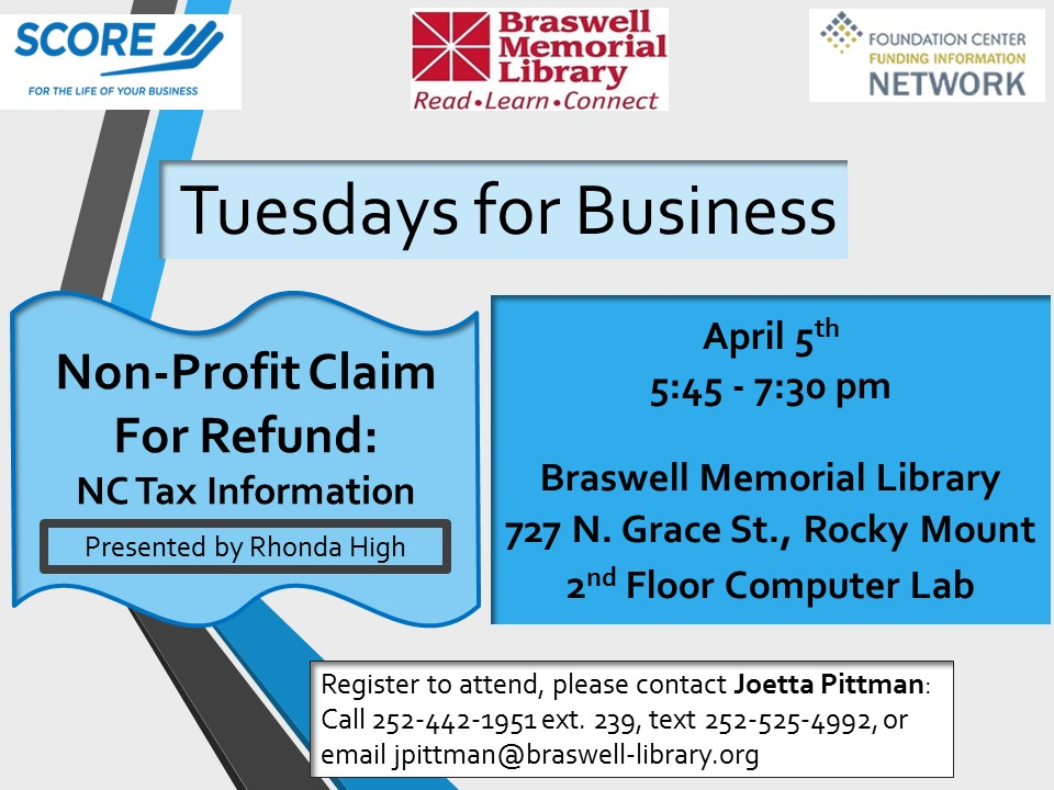 April 2016 offering, Braswell Memorial Library First Tuesdays for Small Business, Rocky Mount, NC.