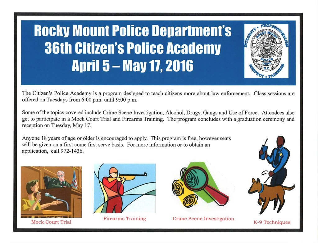 Citizens Police Academy notice. Source: RMPD, Rocky Mount NC.