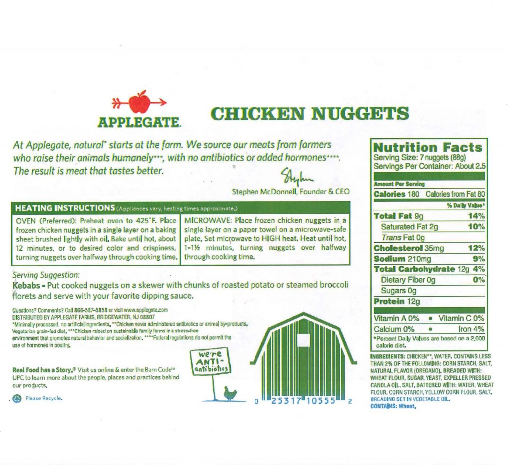 Rear Label of Applegate Chicken Nuggets. Source United States Department of Agriculture Food Safety and Inspection Service, Washington DC.