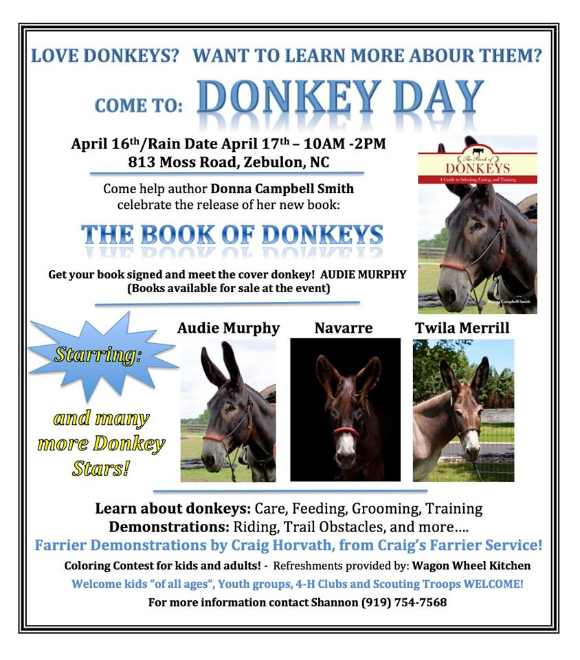 Donkey Day announcement for April 2016 event.