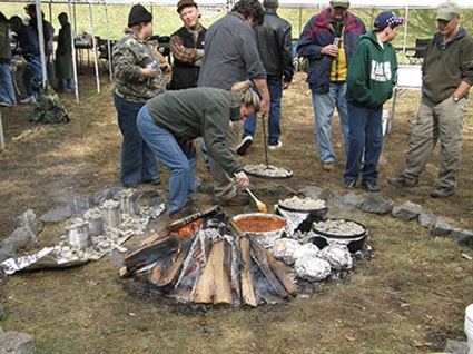 The outdoor cooking workshop is a hands-on class where participants will prepare and eat their outdoor meals. Photo: BB Gillen/N.C. Wildlife Resources Commission.