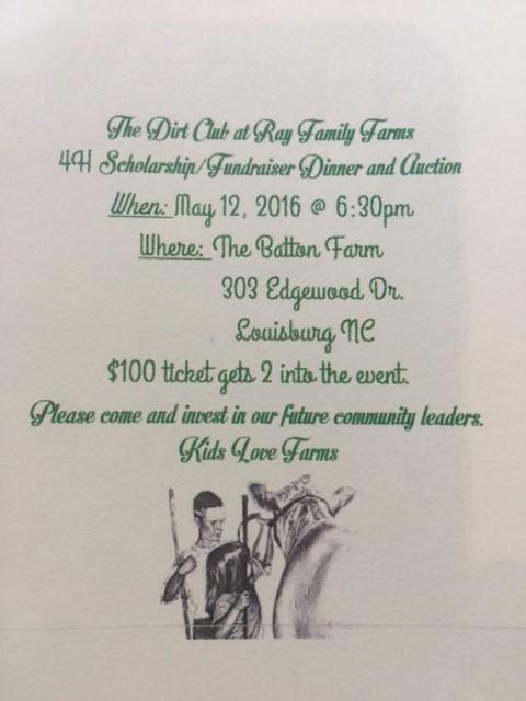 4-H Fundraiser notice 2016. Source: RFF Dirt Club, Louisburg NC.
