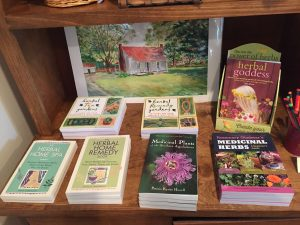 Medicinal herb books for sale in the Country Doctor Museum (Bailey NC) during special event April 30, 2016. Photo: Kay Whatley.