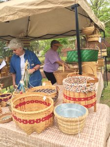 Basket vendor at the Country Doctor Museum (Bailey NC) during special event April 30, 2016. Photo: Kay Whatley.