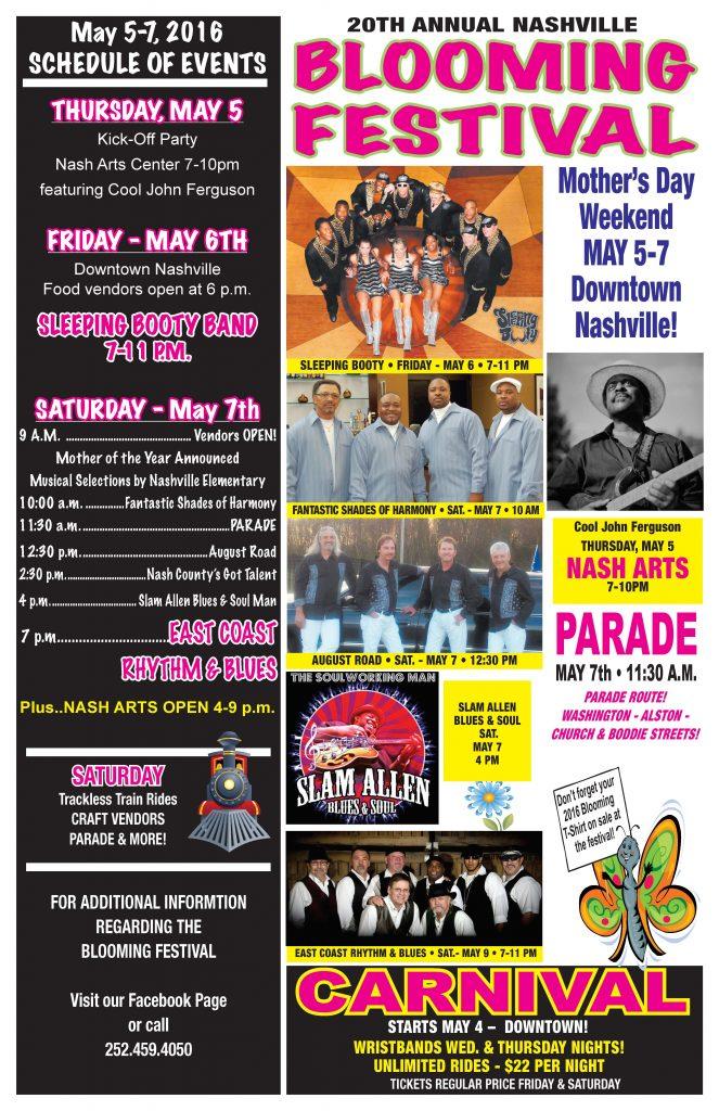 Blooming Festival 2016 poster. Source: Nashville Chamber of Commerce, Nashville NC.