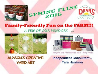 Spring Fling notice for 2016. Source: Deans Farm Market, Wilson NC.