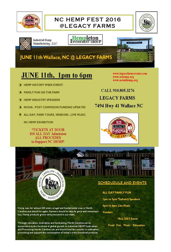 2016 NC Hemp Fest at Legacy Farms, Wallace NC. Source: nchemp.org.