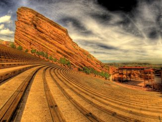 Red Rocks Amphitheatre with Shiprock, by Don Peitzman. Source: City and County of Denver, CO.