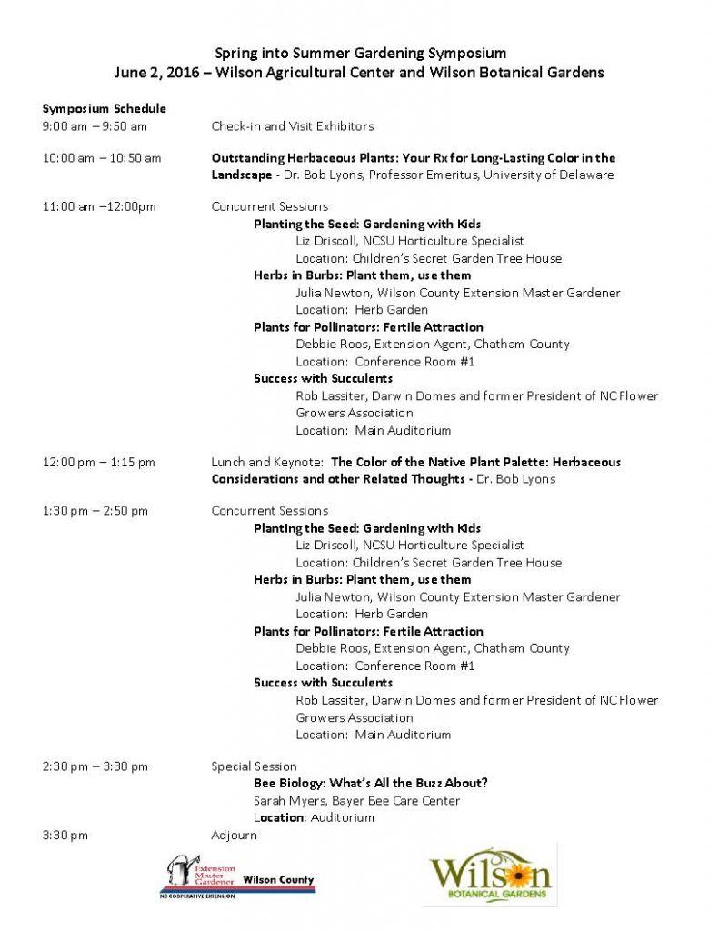 Spring into Summer Gardening Symposium Schedule. Source: Wilson County Coop Extension Service, Wilson NC.
