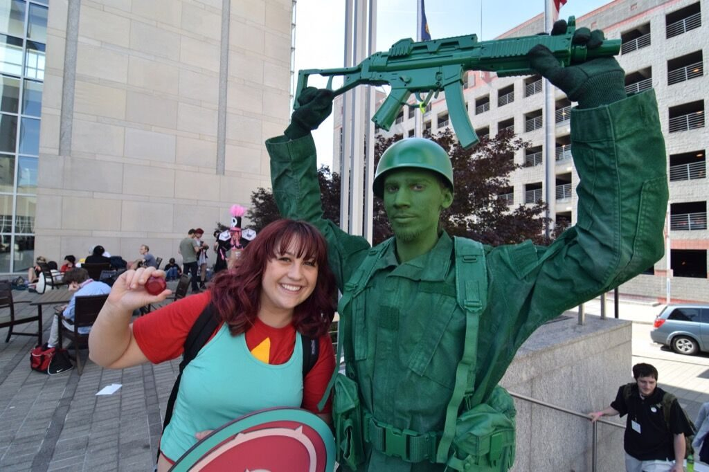 Green army soldier and companion at the 2016 Animazement in Raleigh NC. Photo: Mitch Amiano.