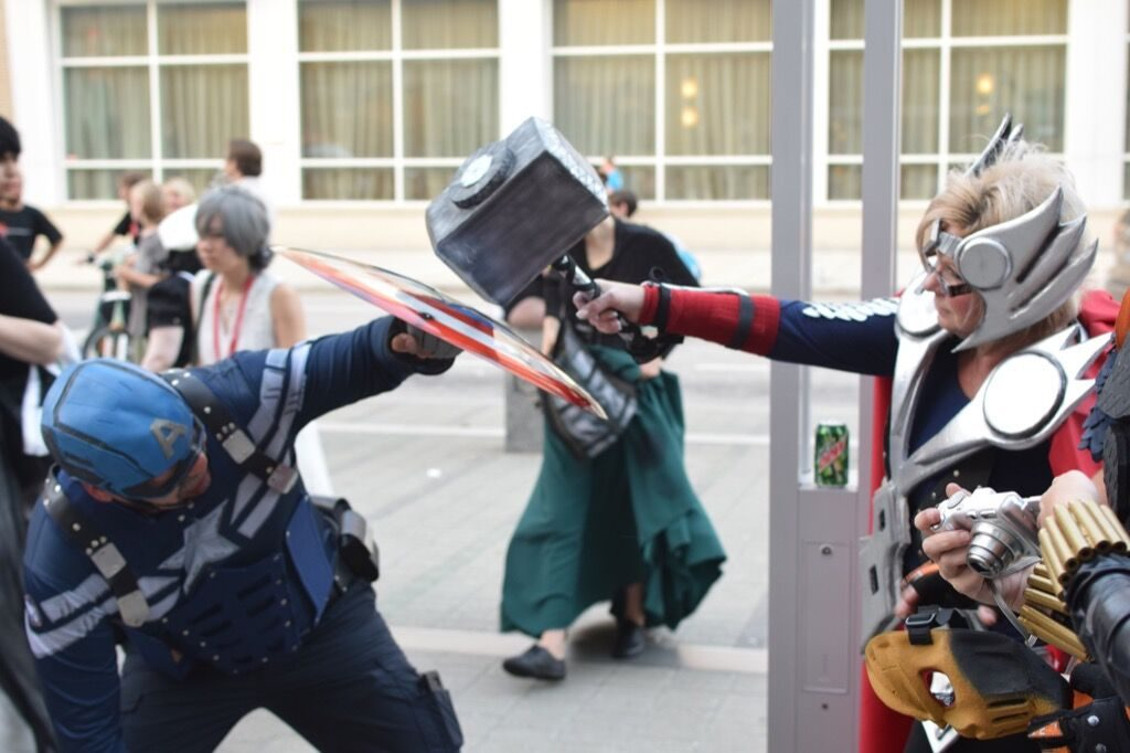 Having a little fun-fight outside at the 2016 Animazement, Raleigh NC. Photo: Mitch Amiano.