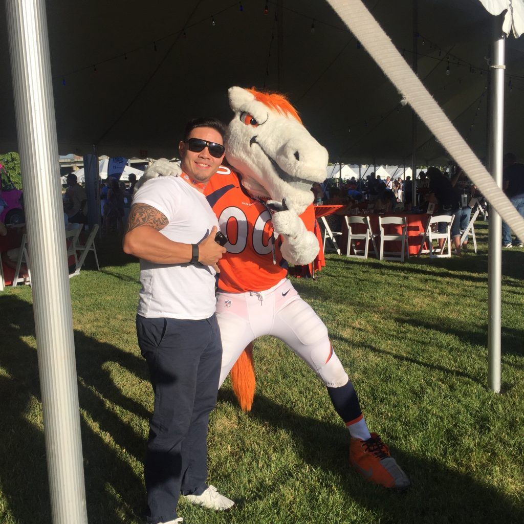 Hanging with Thunder at the Taste of the Broncos 2016, at Sports Authority Field, Denver CO. Photo: Jason Hernandez.