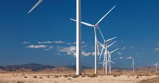 Installed turbines in Macho Springs, located in New Mexico USA. Photo: Lars Schmidt, November 2011.