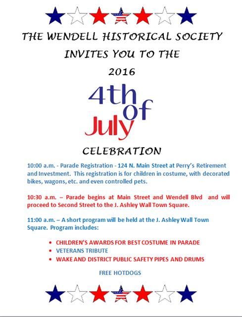 Wendell Historical Society flyer for 2016 Fourth of July Events.