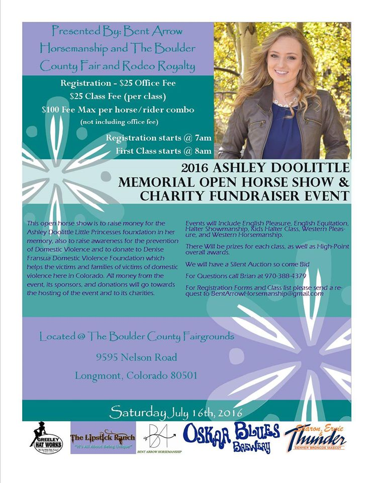 Ashley Doolittle Memorial Open Horse Show and Charity Fundraiser flyer. Source: Bent Arrow Horsemanship, Bennett CO.