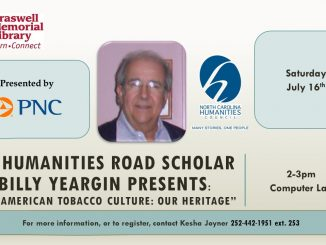 Billy Yeargin to present on July 16, 2016. Source: Braswell Memorial Library, Rocky Mount NC.