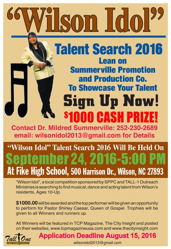 Wilson Idol 2016 talent search flyer. Source: Summerville Promotion and Production Co., Wilson NC.