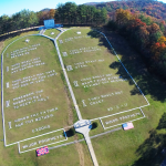 Aerial view of the Ten Commandments on Burger Mountain. Source: Fields of the Wood, Murphy NC, cogop.org/fow.