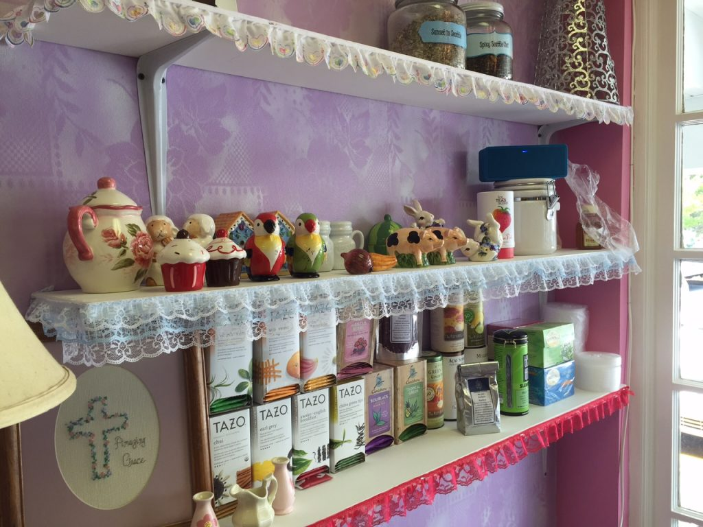 Oak Park Tea Room sells tea, tea accessories, and locally made consignment goods. Source: Kay Whatley.