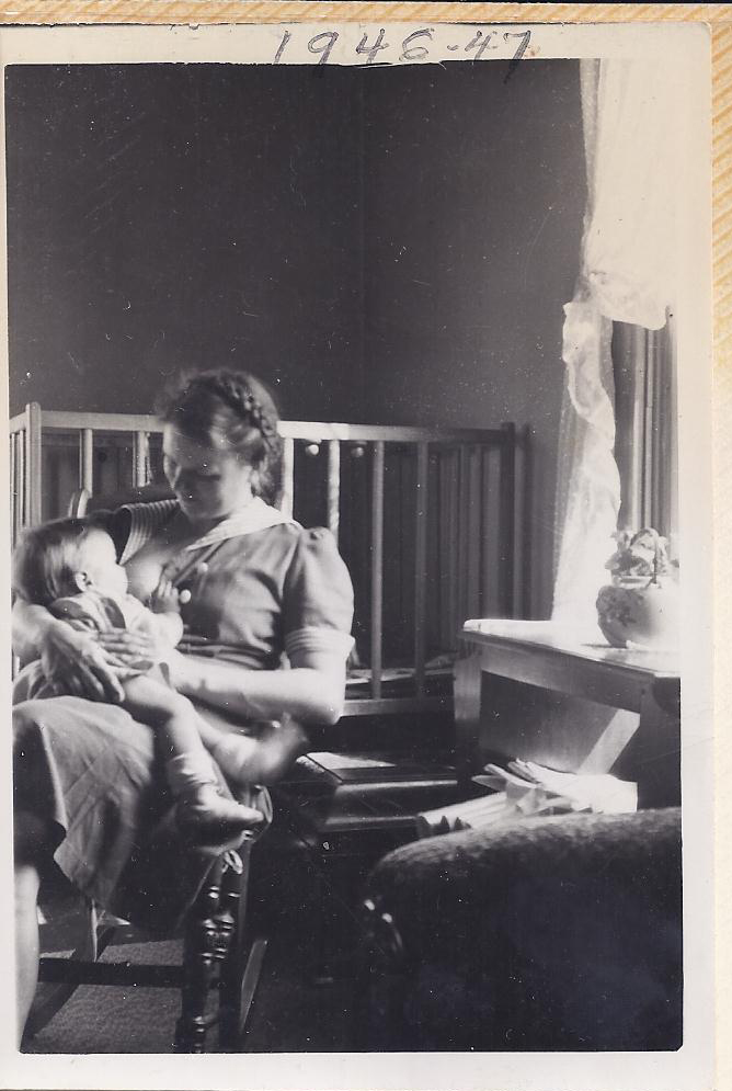 Photo of a woman breastfeeding, taken by her husband in the 1940s. Source: The Mallett Family, Ohio.