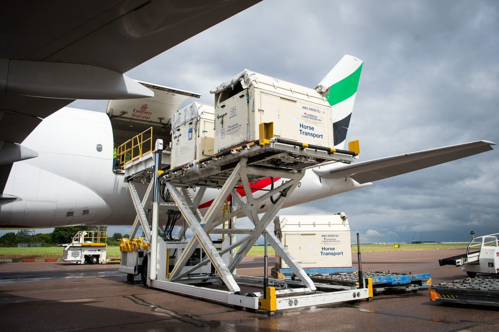 Horses bound for the Rio 2016 Olympic games were loaded onto an Emirates SkyCargo Being 777-F at London Stansted Airport. On the flight were 34 horses from 10 of the nations competing in Equestrian at Rio 2016. Sourc e: FEI/Jon Stroud media, PRNewsFoto/FEI.