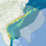 Still shot of the dolphin seismic blasting map. Source: oceana.org