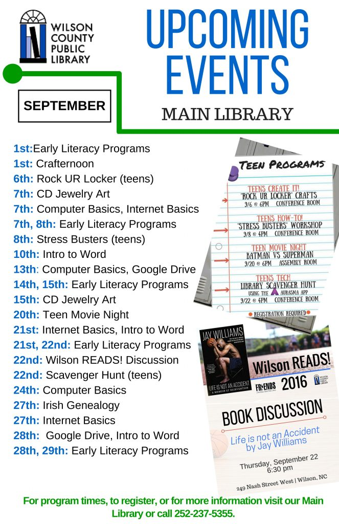 September programs at Wilson County libraries. Source: Will Robinson, Local History and Genealogy Librarian, Wilson County Public Library, Wilson NC.
