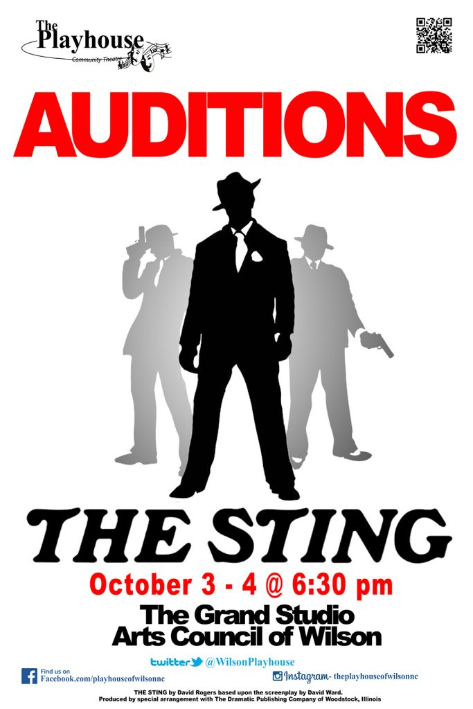 The Sting 2016 Auditions poster. Source: Playhouse of Wilson, Wilson NC.