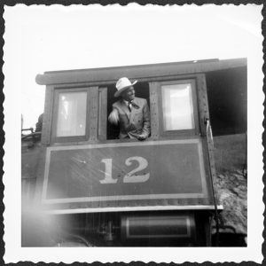Gene Autry with Engine No. 12 at Tweetsie. Source: Tweetsie Railroad, Blowing Rock NC.