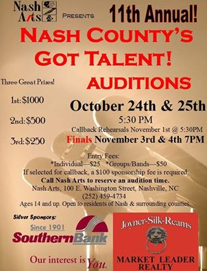 Nash County's Got Talent 2016 poster. Source: Nash County Arts Council, Nashville NC.