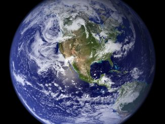 Earth and all her inhabitants. Image: NASA's Earth Observatory, 2002 (western hemisphere).