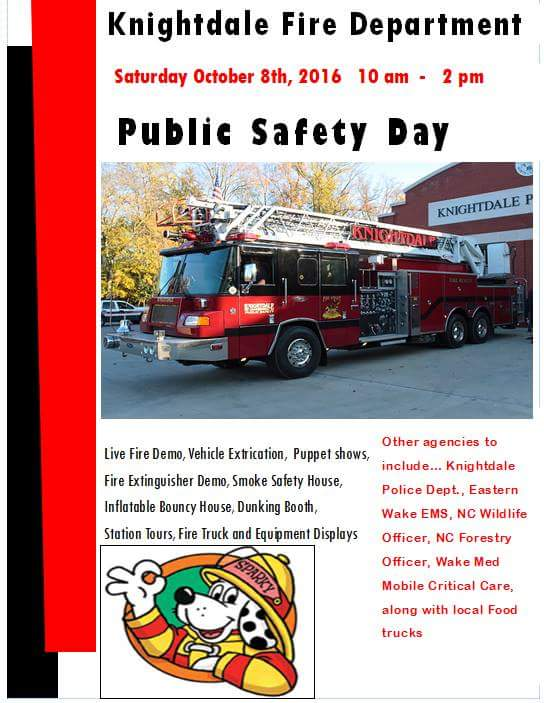 Public Safety Day is RESCHEDULED TO October 22, 2016, in Knightdale, North Carolina.