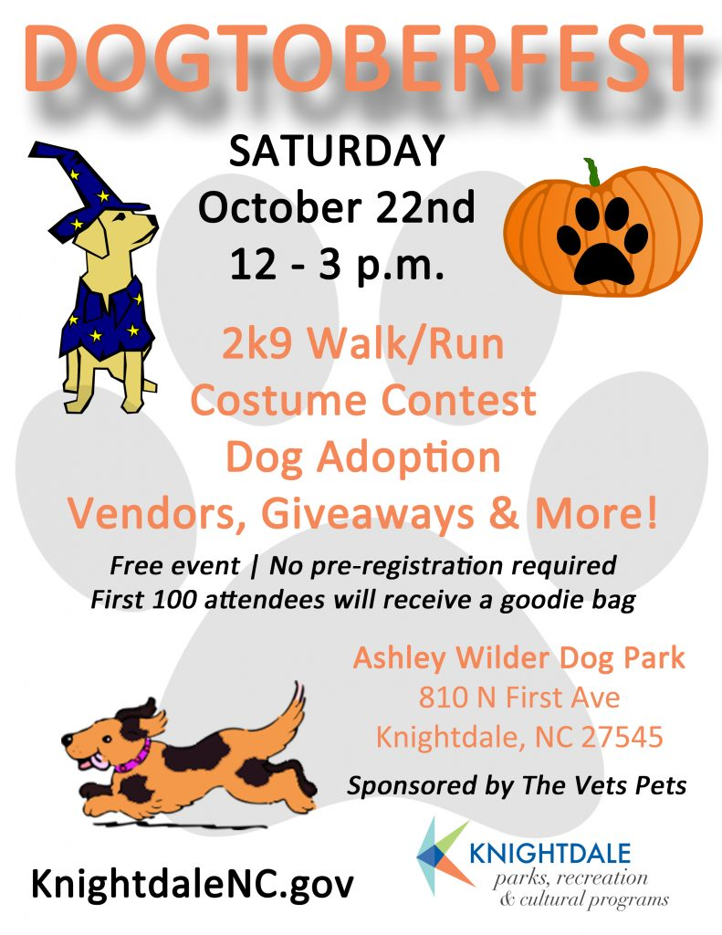 Dogtoberfest flyer source Megan Thornton, Town of Knightdale NC.