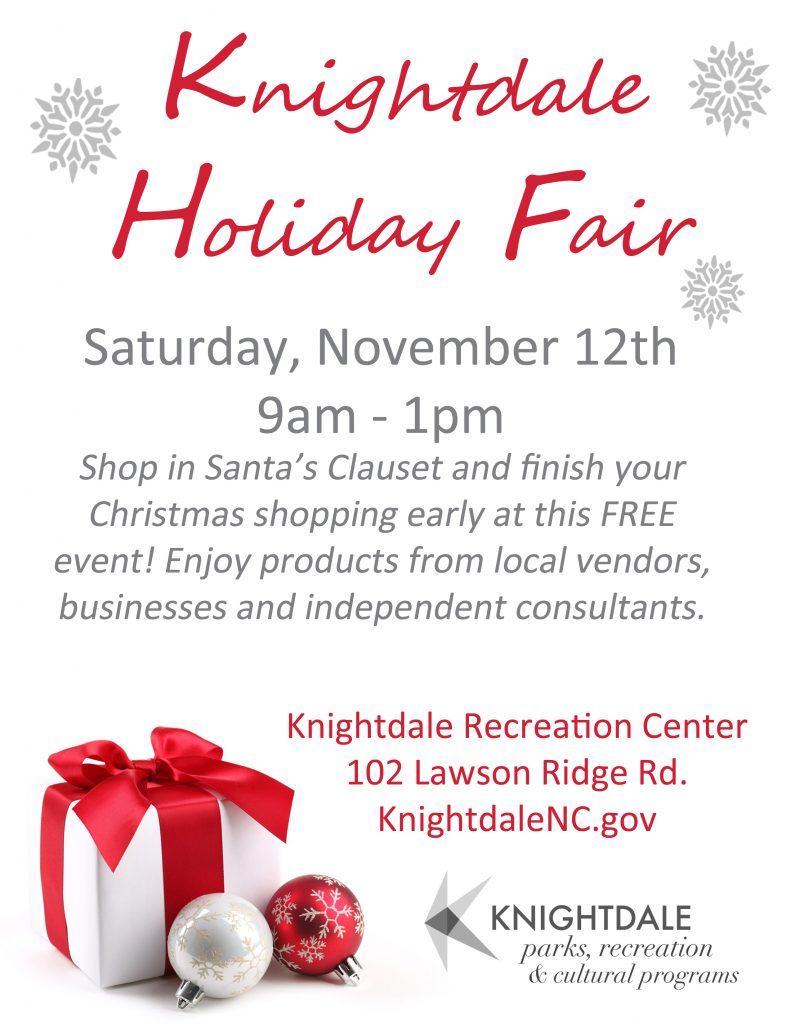 Holiday Fair flyer source: Megan Thornton, Town of Knightdale NC.