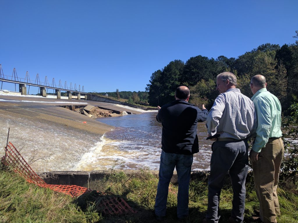 NC DEQ staff, dam safety team, and Secretary Donald van der Vaart (middle) at Woodlake Dam, Moore County, North Carolina, on October 12, 2016. Source: Mike Rusher, NC DEQ.