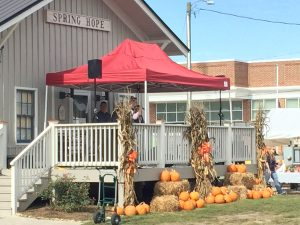 Music on the railway porch at the 2016 National Pumpkin Festival in Spring Hope NC. Photo: Kay Whatley.