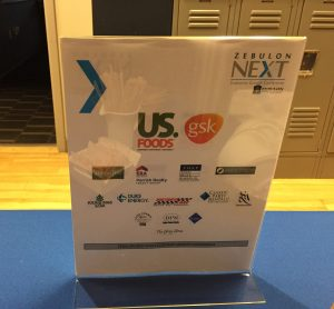 Sponsor signage at the Zebulon Next Conference, October 6, 2016. Source: Kay Whatley.