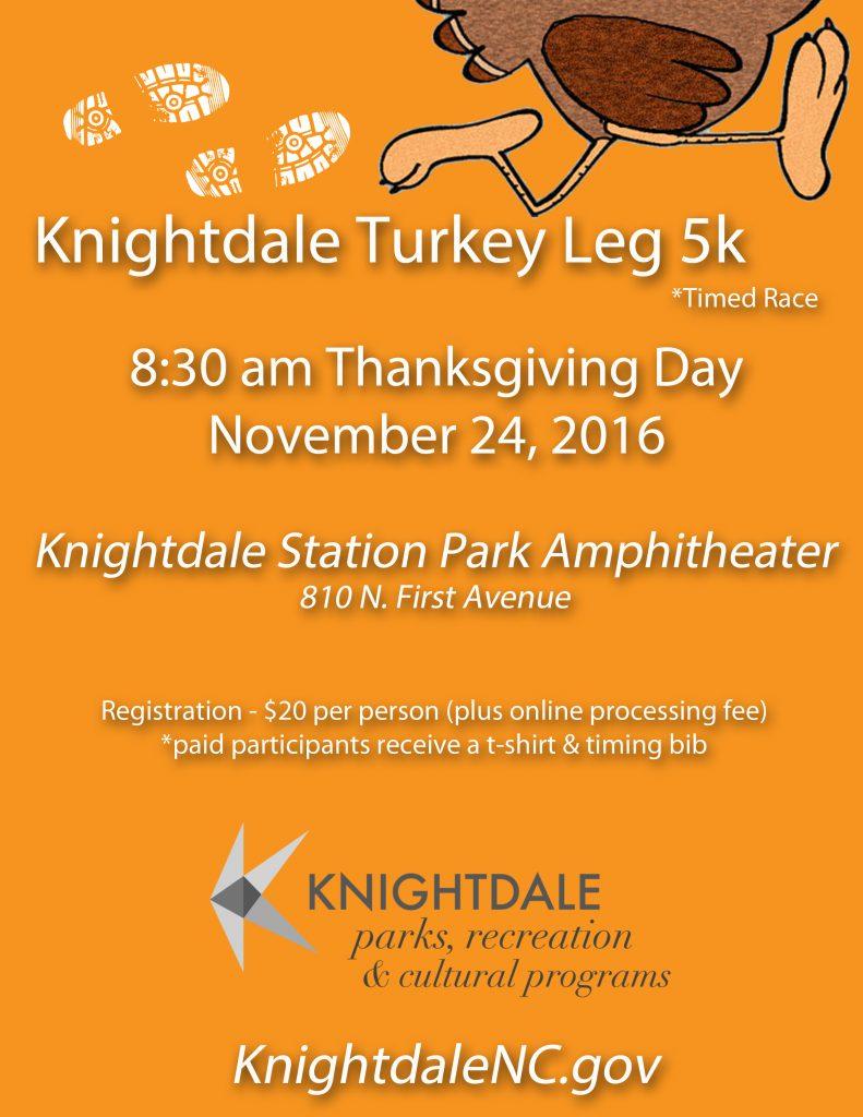 Turkey Leg 5K flyer source Megan Thornton, Town of Knightdale NC.