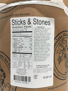 Label released by the FDA with Chocolate Shoppe Ice Cream Company Recall.