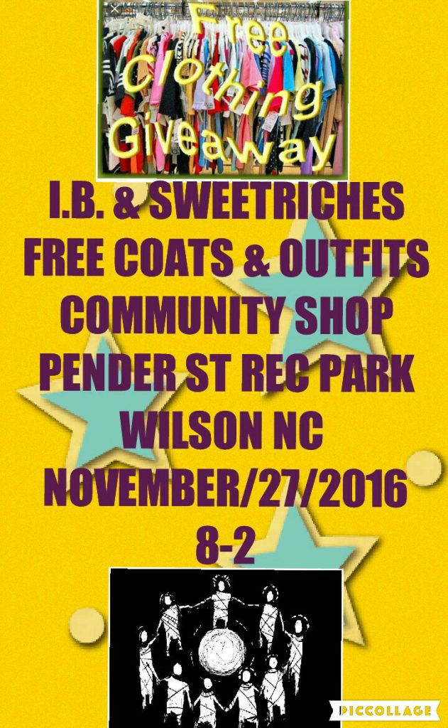 Free clothing giveaway in Wilson NC on November 27, 2016.