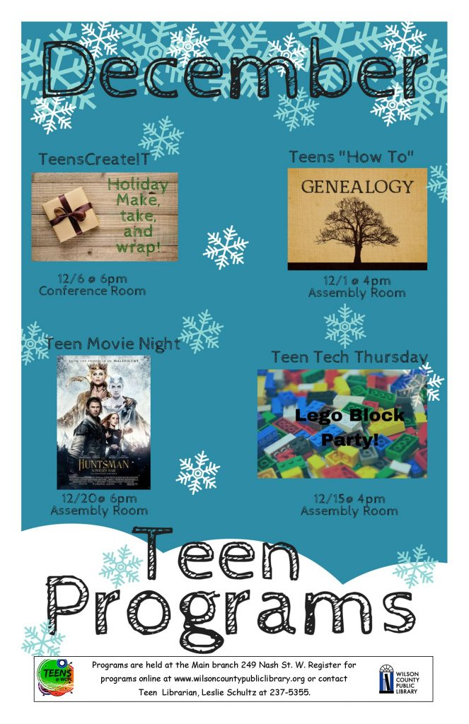 December 2016 teen events. Source: Wilson County Public Library.