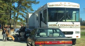 Nash County Sheriff's Office personnel, set up for the Middlesex NC hot dog giveaway from their Mobile Command Unit. Photo: Kay Whatley