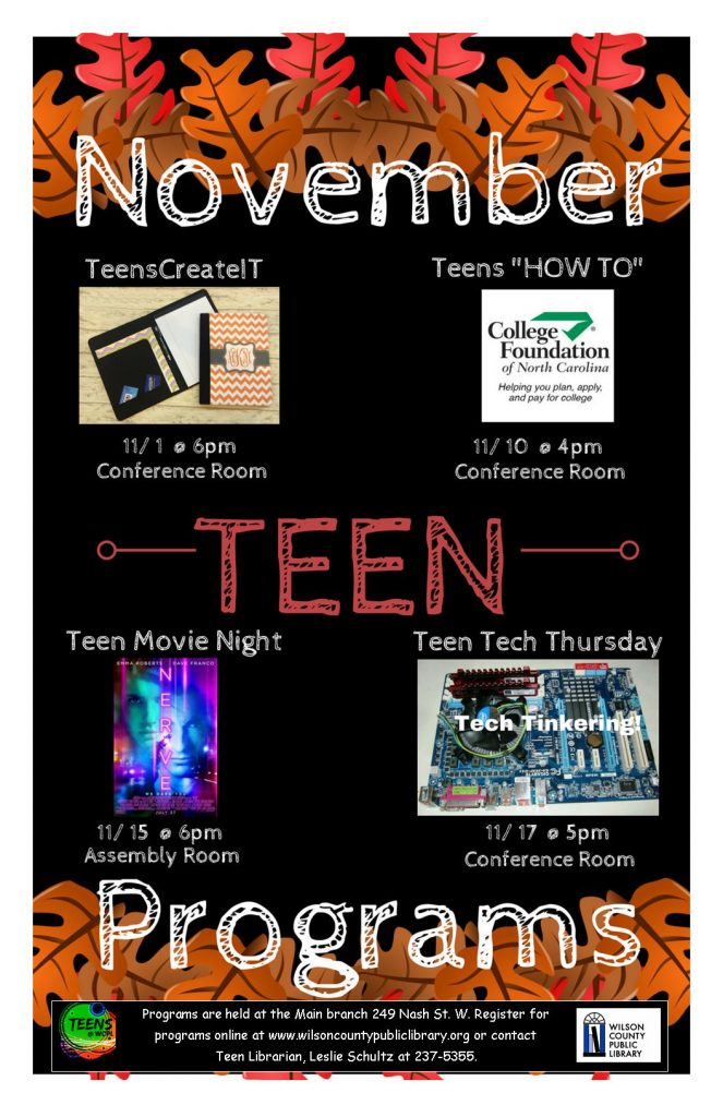 Teen events in November 2016. Source: Wilson County Public Library.