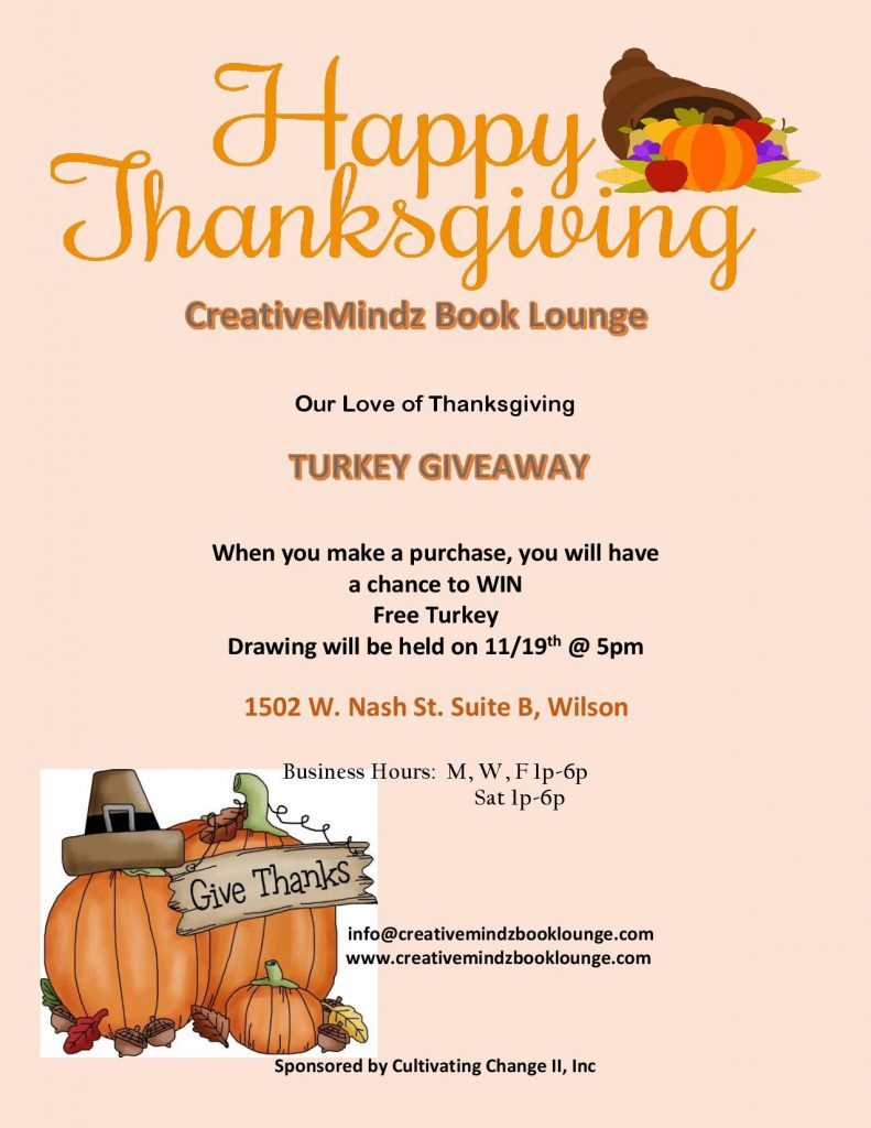 Thanksgiving turkey giveaway. Source: CreativeMindz Book Lounges in NC.