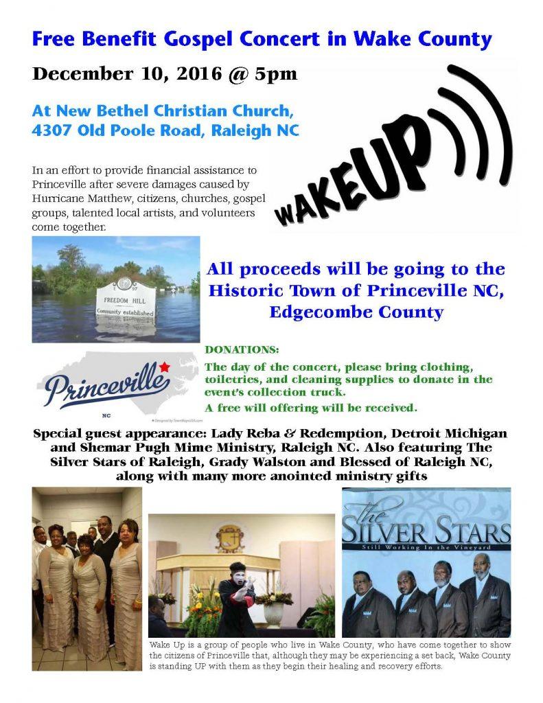 Benefit gospel concert flyer.