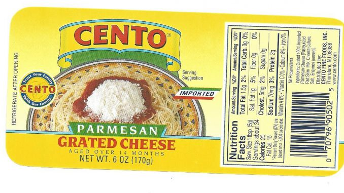 One of the Cento grated cheese labels provided with the US FDA recall.